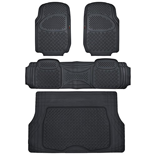 Motor Trend Odorless Black Heavy Duty SUV 4 Piece Floor Mats - Universal Fit 2 Row and Trim to Fit Trunk Cargo ()
