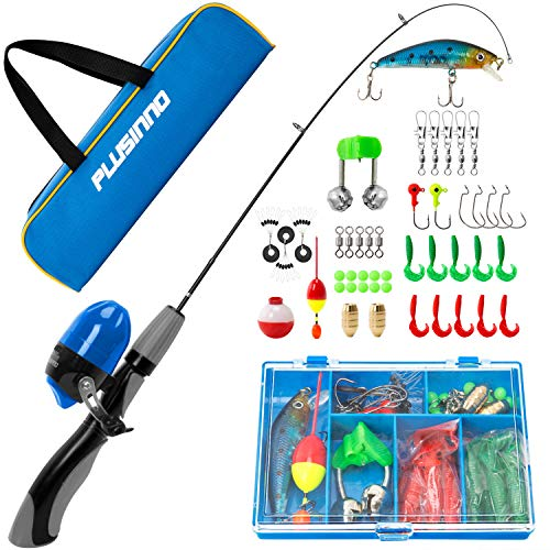 PLUSINNO Kids Fishing Pole,Portable Telescopic Fishing Rod and Reel Full Kits, Spincast Fishing Pole for Kids, Boy, Youth (Grey Handle with Bag, 120CM 47.25IN)