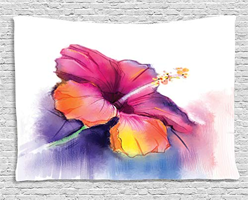 Ambesonne Flower Tapestry, Hibiscus Flower in Pastel Abstract Colorful Romantic Petal Pattern Artwork Print, Wall Hanging for Bedroom Living Room Dorm, 60 W X 40 L Inches, Pink Tones
