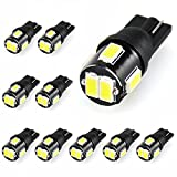 JDM ASTAR 10pcs Super Bright 194 168 175 2825 W5W 158 161 T10 5630 SMD LED Bulbs, Xenon White (Only used for interior light )