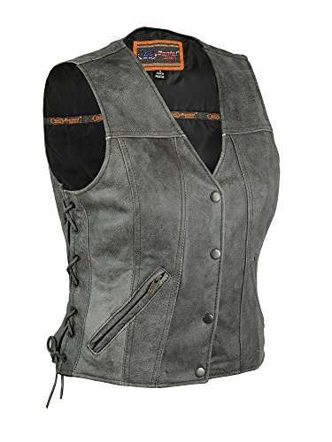 Daniel Smart Motorcycle Ladies Distressed Grey Snap Button Premium Side Lace Leather Vest New(2XL)