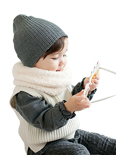 Zando Soft Cute Knit Baby Beanies For Girls Cotton Solid Skull Infant Caps Warm Toddler Hat For Boys Winter Grey One (Infant Skull Cap)