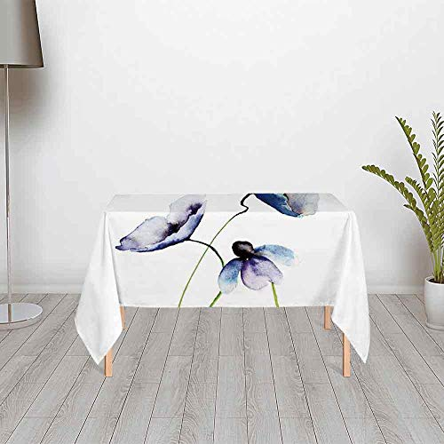 Watercolor Flower Custom Satin Tablecloth,Abstract Poppies Blossoms Simple Artistic Composition Picture for Dining Table Tea Table Desk Secretaire,48.03''W x 24.02''H