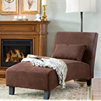 Traditional Chaise Lounger -This Polyester Microfiber Upholstered Lounge Is Perfect for Your Home or Office - Put This Accent Sofa Furniture in the Bedroom or Living Room - Gift - Free Decor Pillow!