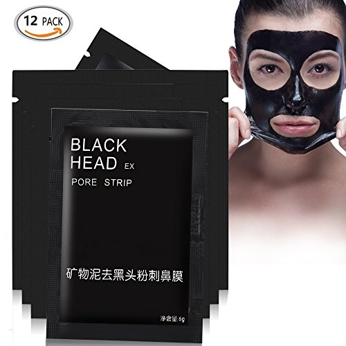 Blackhead Remover Mask, Black Mud Face Mask Facial Clean Blackhead Nose Mask Tearing Style Deep Cleansing Black Mask Natural Bamboo Charcoal Ingredient Purifying Peel-off Mask Acne Treatment (12 pcs)