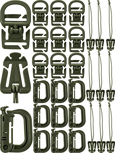 30 Pieces Tactical Gear Clip Strap for Molle Backpack Webbing Attachments D Ring Hook Tactical Vest Belt (Style M)