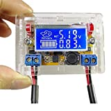 Anmbest DC-DC 5-23V to 0-16.5V 3A Adjustable Step Down Power Supply Ammeter Voltmeter Module Voltage Current LCD Display with Transparent Shell