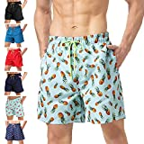 """anqier Mens Swim Trunks Quick Dry Beach Shorts Mesh Lining Board Shorts Swimwear Bathing Suits with Pockets (Green Pineapple, US M (Fits Waist 32.5"""" - 34"""",Tag XL))"""