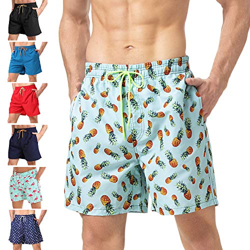 anqier Mens Swim Trunks Quick Dry Beach Shorts Mesh Lining Board Shorts Swimwear Bathing Suits with Pockets (Green Pineapple, US L (Fits Waist 34.5