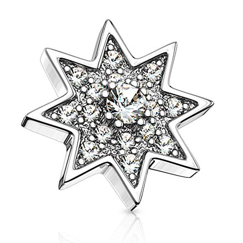 (BYB Jewelry CZ Paved Starburst Surgical Steel Dermal Anchor Top (Steel))