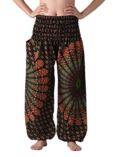 Fair Trade Elephant - Bangkokpants Women's Boho Pants Hippie Clothes Yoga Outfits Peacock Design One Size Fits (Black Shinepeacock)