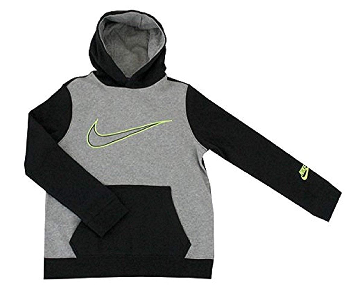 4f27c9cb559b Amazon.com  Nike Youth Boys Colorblocked Fleece Hoodie (S 8) Grey Black   Sports   Outdoors