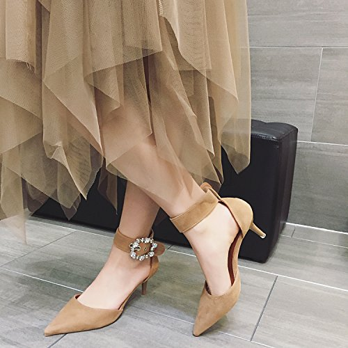 Shoes Buckle Fine 5Cm Heeled 6 Khaki 39 Temperament Spring MDRW Pointed High With Shoes Shoes Work Elegant Suede Ladies Leisure Hollow Temperament Lady Rhinestone 6c0PwqH