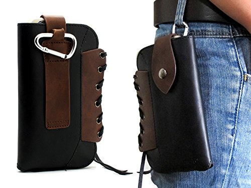 Black Cowboy Series Premium Leather Retro Sleeve Multi-function Bag Pouch Belt Holster Case with Metal Buckle Cover for iPhone 6 Plus ,iPhone 6S Plus ,for LG V10,Nexus 6P,Galaxy S6 Edge Plus