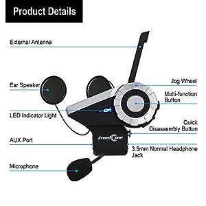 Motorcycle Helmet Intercom Group Talk Communication Systems T-Rex Helmet Bluetooth Headset Intercom Interphone(8 Riders Pairing Group Intercom/1500m Range/FM Radio/Waterproof/Music Sharing/Voice Dial)