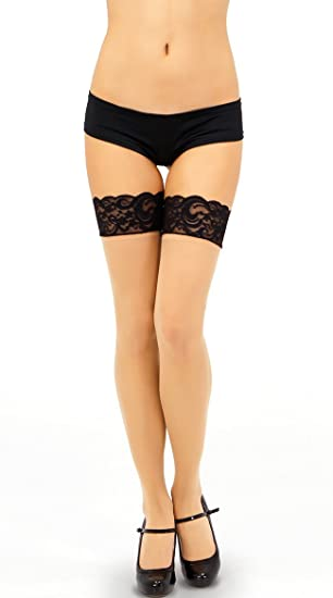 da903588f42 Image Unavailable. Image not available for. Color  Music Legs Sheer Thigh  High ...