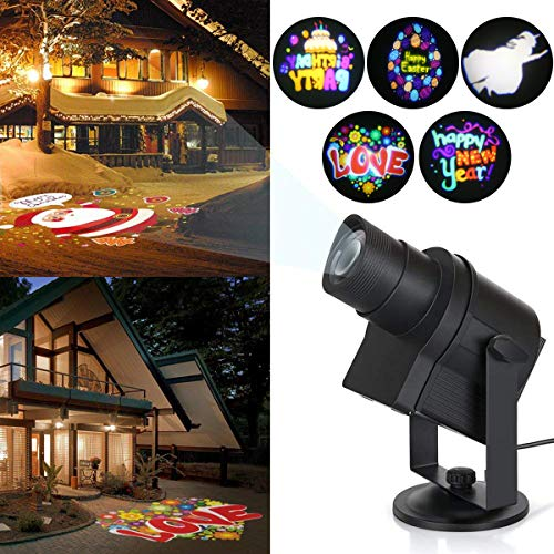 Blinblin Outdoor Projector Light, Waterproof Indoor Landscape Decoration Lighting with 6 Excluxive Design Slides for Christmas Halloween Party