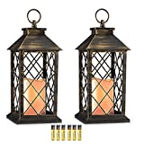 Evermore Light 14' Golden Brushed Vintage Style Candle Lantern with 4 Hours Timer (Batteries Included) Hanging Lantern for Indoor&Outdoor Flameless candles Decorative-Candles-Lanterns (set of 2)