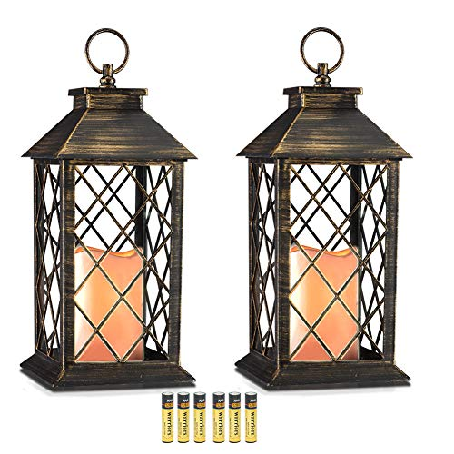 Evermore Light 14'' Golden Brushed Vintage Style Candle Lantern with 4 Hours Timer (Batteries Included) Hanging Lantern for Indoor&Outdoor Flameless candles Decorative-Candles-Lanterns (set of 2) by Evermore Light
