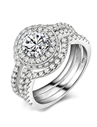 Newshe Jewellery 5CT Triple Round White CZ 925 Solid Sterling Silver Engagement Wedding Band Ring Sets
