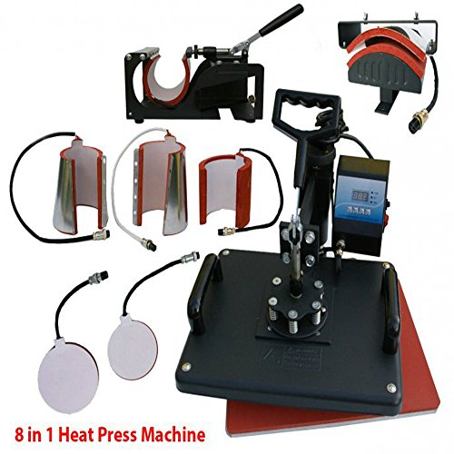110v Printer (Zinnor 8 in1 Heat Press Machine Digital T-Shirt Mug Hat Plate Cup Cap Transfer Sublimation DIY Printer Swing Away 15