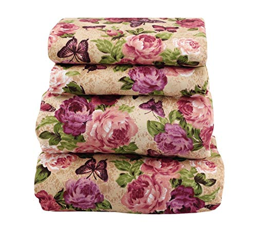 JAYCORNER Beautiful Floral Sheet Set Soft Comfortable Butterfly in The Garden (Queen ()