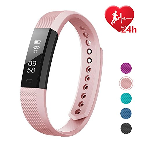 LETSCOM Fitness Tracker, Fitness Tracker Watch with Heart Rate Monitor,Slim Touch Screen and Wristbands, Wearable Waterproof Activity Tracker Pedometer,Pink for Android and iOS