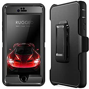 iPhone 6 Plus Case, iPhone 6S Plus Case with [Belt Clip] Kickstand & Built-in Screen Protector [Shockproof] Heavy Duty Cover for Apple 5.5 Inch (black)