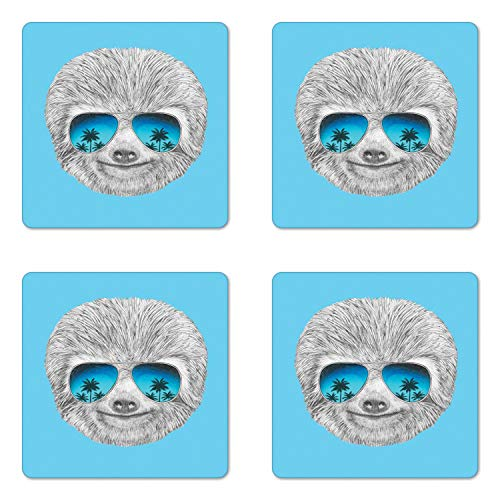(Ambesonne Sloth Coaster Set of Four, Portrait of Sloth with Mirror Sunglasses Exotic Palm Trees Hawaiian Beach Hipster, Square Hardboard Gloss Coasters for Drinks, Grey Blue Aqua)