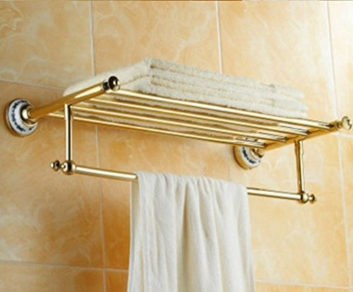 GOWE Classic Brass Finish High Quality Bath Towel Shelves
