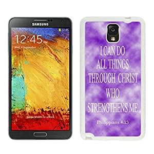 BINGO good review Philippians 413 Religious Bible Verse Inspirational Snap-On Black Jesus Christ Samsung Galaxy Note 3 Case White Cover