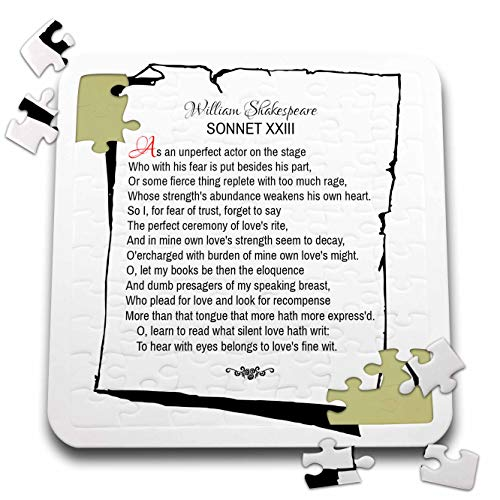 3dRose Alexis Design - Poetry Shakespeare Sonnets - Sonnet 23. As an unperfect Actor on The Stage - 10x10 Inch Puzzle (pzl_305668_2)