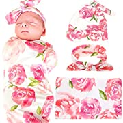 Newborn Baby Swaddle Blanket Hospital Hat and Headband Value Set,Receiving Blankets, Pink Flower