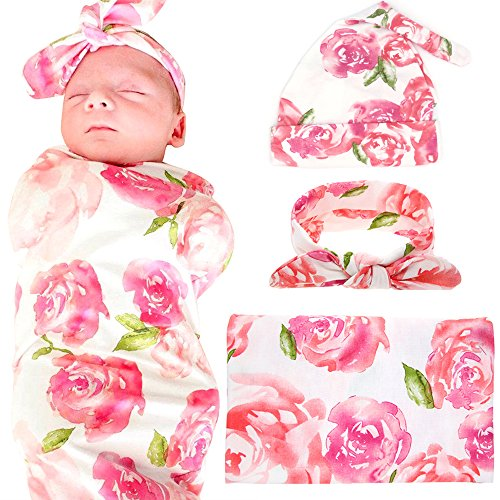 Hat Receiving Blanket - Newborn Baby Swaddle Blanket Hospital Hat and Headband Value Set,Receiving Blankets, Pink Flower