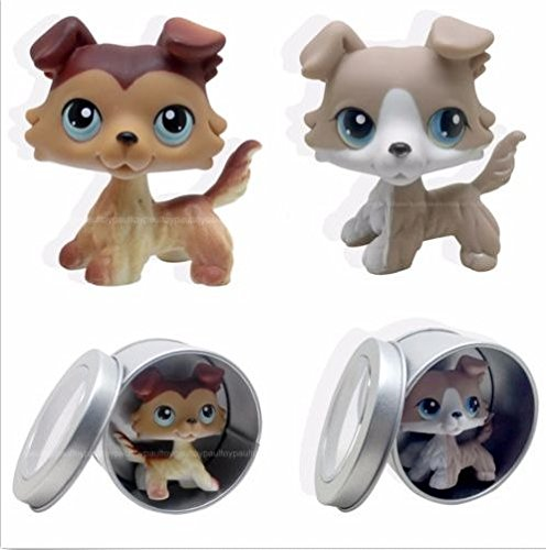 2pcs #67 #58 Littlest Pet Shop Brown Collie Dog Puppy LPS Rare Toy