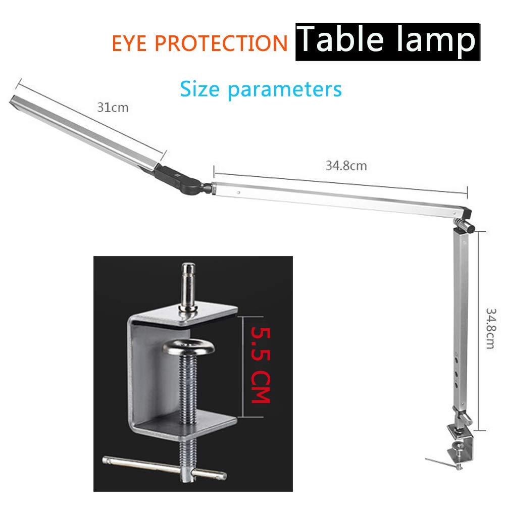 Mit Fernbedienung LED Schreibtischlampe Metall Tischleuchte Dimmbar Tageslichtlampe Tischlampe mit Langem Arm Gray