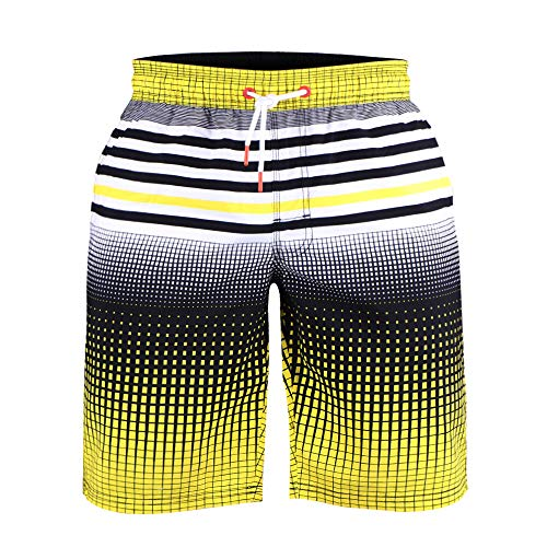 - MUSCLE ALIVE Men's Quick Dry Board Shorts Beach Colortful Striped Trunks for Swim with Bothside & Back 3 Pockets 21