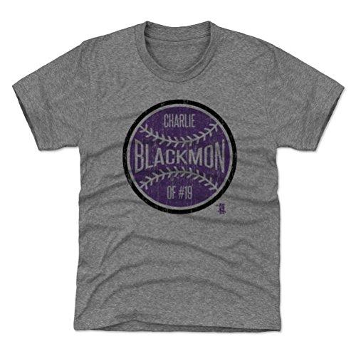 500 LEVEL Colorado Baseball Youth Shirt - Kids X-Large (14-16Y) Tri Gray - Charlie Blackmon Ball - Rockies Shirt Classic Colorado