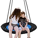 "SUPER DEAL 40"" Waterproof Saucer Tree Swing Set - 360 Rotate° - Attaches to Trees or Existing Swing Sets - Adjustable Hanging Ropes - for Kids, Adults and Teens, 3 Colors (Bright Blue)"
