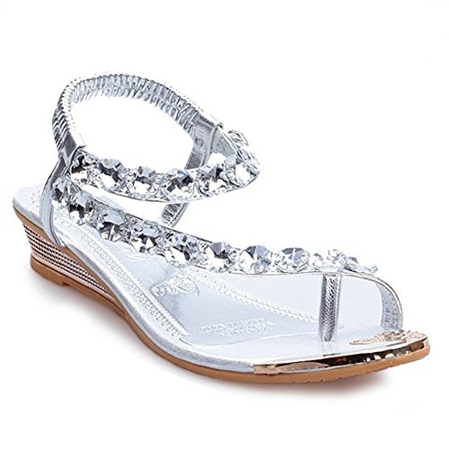 Cybling Bas Wedge Robe Sandales Mode Cristal Strass Plage Romain Argent
