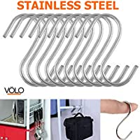 Volo Stainless Steel Multipurpose S-Hook Sling Type, Organizer for Cupboard, Cabinets, Hangers, Travelling, Kitchen Cutlery Hanging Hook, Cloth Hanger Hook, Bathroom Hook (Pack of 10 Hooks)