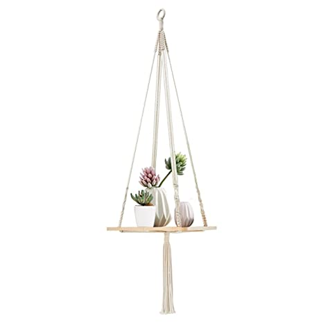 Garden Supplies with Wood Plate Helpful Hanging Shelf Indoor Plant Hanger Planter Rack Flower Pot Holder Boho Home Decor Cotton Rope Power Source
