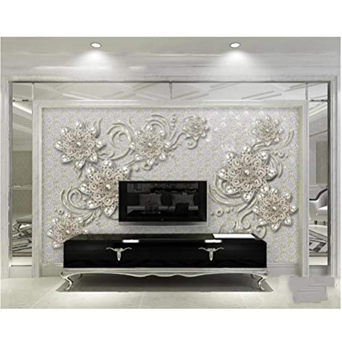 Custom Wallpaper 3D Fashion New European Style Three-Dimensional Jewelry Flower TV Background wall-380x240cm