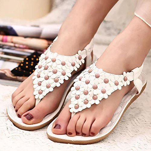 1 Böhmen Schuhe Perlen Sandalen Weiß Flache YOUJIA Flip Frauen Blume Strand BA7vCq