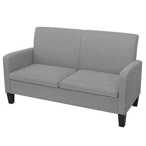 Tuduo Sofá de 2 plazas 135 x 65 x 76 cm Gris Claro Elegante ...