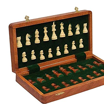 OmCrafts Premium Wooden Handcrafted Folding Chess Set with Magnetic Pieces , 12X12 Inches
