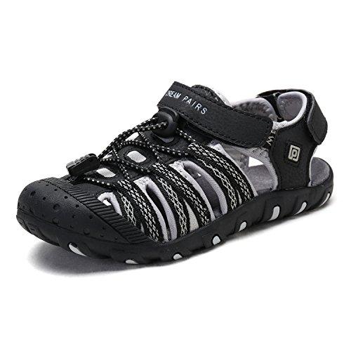 DREAM PAIRS Little Kid 171111-K Black Grey Outdoor Summer Sandals Size 2 M US Little Kid