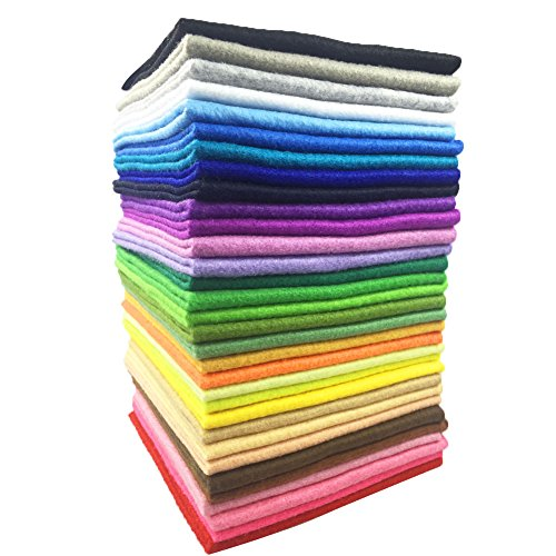 (Soft Felt Fabric Squares Sheets, 40 Assorted Candy Colors for Craft, Non Woven Patchwork Sheet Pack 40pcs 8