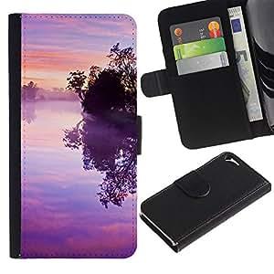 Billetera de Cuero Caso del tirón Titular de la tarjeta Carcasa Funda del zurriago para Apple Iphone 5 / 5S / Business Style Nature Pink Purple Susnet