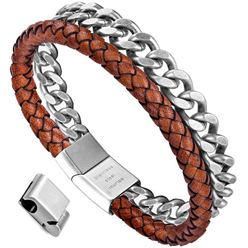 murtoo Mens Bracelet Leather and Steel, Stainless Steel Chain and Leather Bracelets for Men (Orange,Silver) ()